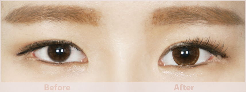 brown circle lenses before and after